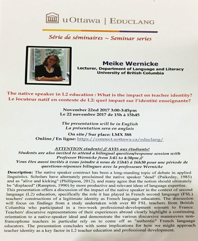 Affiche du séminaire avec Meike Wernicke