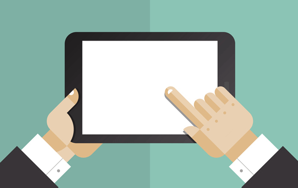Illustration of a tablet being held by two hands
